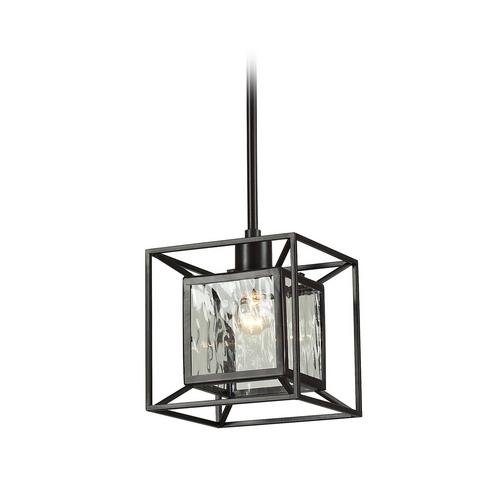 Elk Lighting Mini-Pendant Light with Clear Glass in Oiled Bronze Finish 14121/1-LA