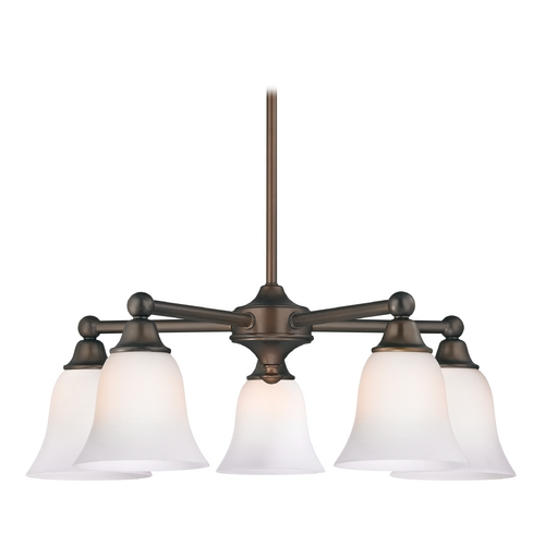 Design Classics Lighting Chandelier with White Glass in Neuvelle Bronze Finish 594-220 GL9222-WH