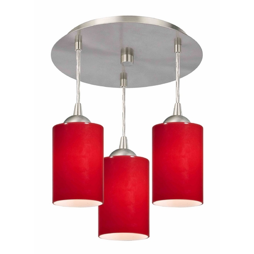 Design Classics Lighting 3-Light Semi-Flush Ceiling Light with Red Glass - Nickel Finish 579-09 GL1008C