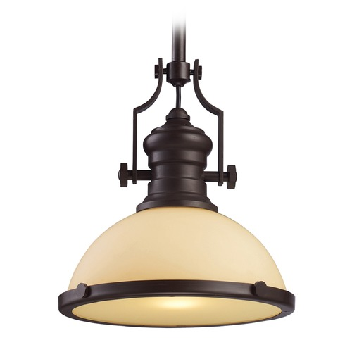 Elk Lighting Elk Lighting Chadwick Oiled Bronze LED Pendant Light with Bowl / Dome Shade 66133-1-LED