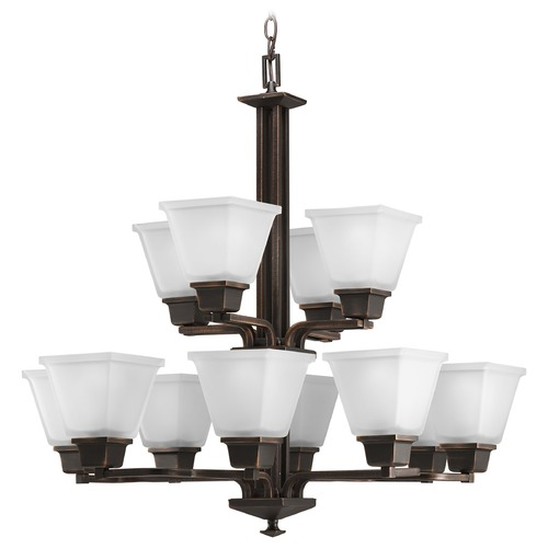 Progress Lighting Progress Chandelier with White Glass in Venetian Bronze Finish P4053-74
