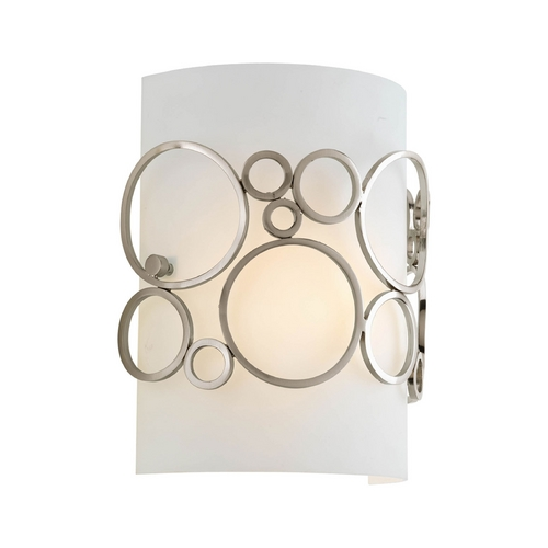 Progress Lighting Progress Modern Sconce Wall Light with White in Brushed Nickel Finish P7056-09