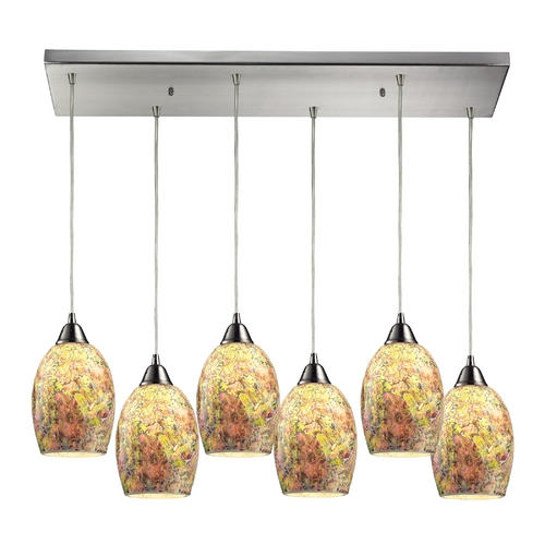 Elk Lighting Modern Multi-Light Pendant Light with Multi-Color Glass and 6-Lights 73021-6RC