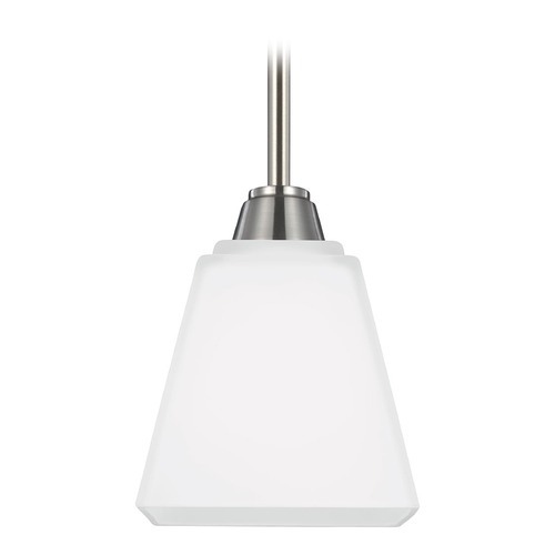 Sea Gull Lighting Sea Gull Lighting Parkfield Brushed Nickel Mini-Pendant Light with Square Shade 6113001-962
