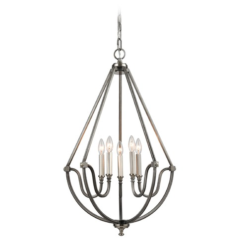 Elk Lighting Elk Lighting Stanton Weathered Zinc, Brushed Nickel Chandelier 11842/5