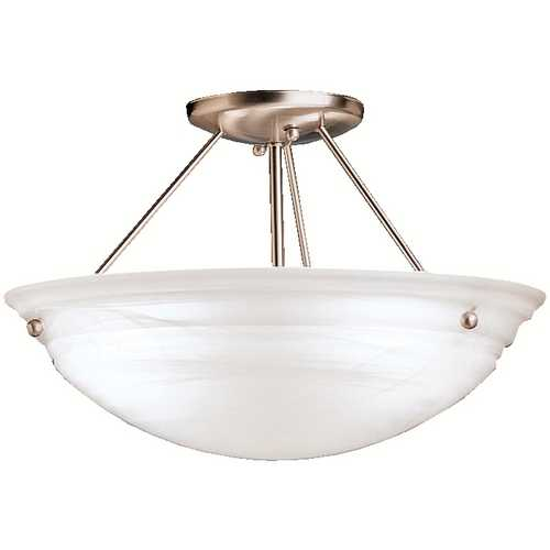 Kichler Lighting Kichler Brushed Nickel Semi-Flushmount Light with White Glass 3122NIA