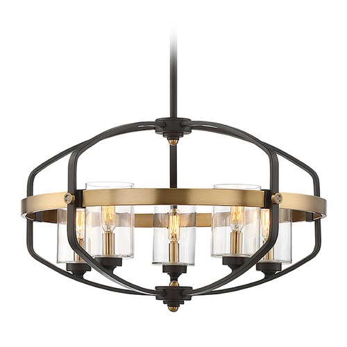 Savoy House Savoy House Lighting Kirkland English Bronze / Brass Pendant Light with Cylindrical Shade 7-8041-5-79