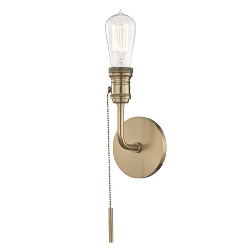 Mitzi by Hudson Valley Industrial Edison Bulb Sconce Brass 4.75-Inch by Hudson Valley Lighting H106101-AGB