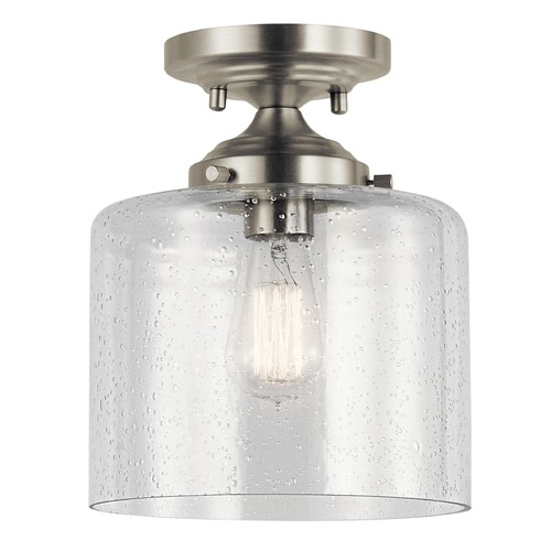 Kichler Lighting Seeded Glass Semi-Flushmount Light Brushed Nickel Winslow by Kichler Lighting 44033NI