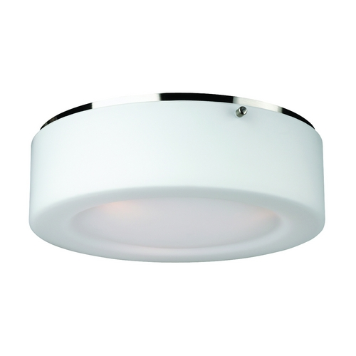 Philips Lighting Modern Flushmount Light with White Glass in Satin Nickel Finish F614136U