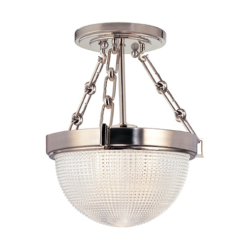 Hudson Valley Lighting Semi-Flushmount Light with Clear Glass in Satin Nickel Finish 4409-SN
