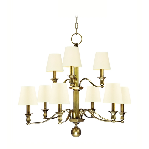 Hudson Valley Lighting Chandelier with White Shades in Aged Brass Finish 1419-AGB-WS