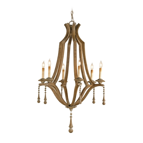 Currey and Company Lighting Modern Chandelier in Washed Wood Finish 9256