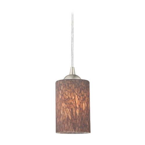 Design Classics Lighting Modern Mini-Pendant Light with Brown Art Glass 582-09 GL1016C