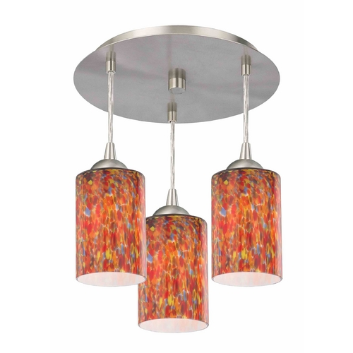 Design Classics Lighting 3-Light Semi-Flush Ceiling Light with Art Glass - Nickel Finish 579-09 GL1012C