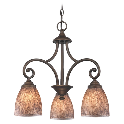 Design Classics Lighting Mini-Chandelier with Brown Glass in Neuvelle Bronze Finish 716-220 GL1016MB