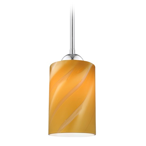 Design Classics Lighting Design Classics Gala Fuse Chrome LED Mini-Pendant Light with Cylindrical Shade 681-26 GL1022C
