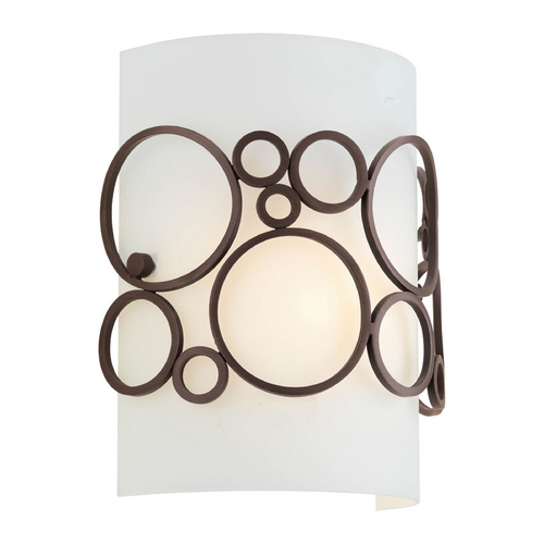 Progress Lighting Progress Modern Sconce Wall Light with White in Venetian Bronze Finish P7056-74
