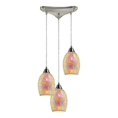 Elk Lighting Modern Multi-Light Pendant Light with Multi-Color Glass and 3-Lights 73041-3