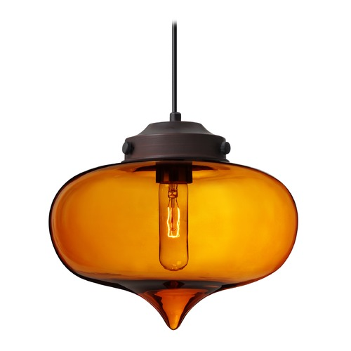 Besa Lighting Besa Lighting Mira Bronze Pendant Light with Oblong Shade 1JT-MIRAAM-BR