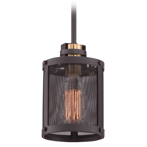 Quoizel Lighting Quoizel Union Station Western Bronze Mini-Pendant Light with Cylindrical Shade UST1505WT