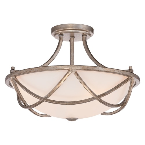 Quoizel Lighting Quoizel Milbank Vintage Gold Semi-Flushmount Light MBK1716VG