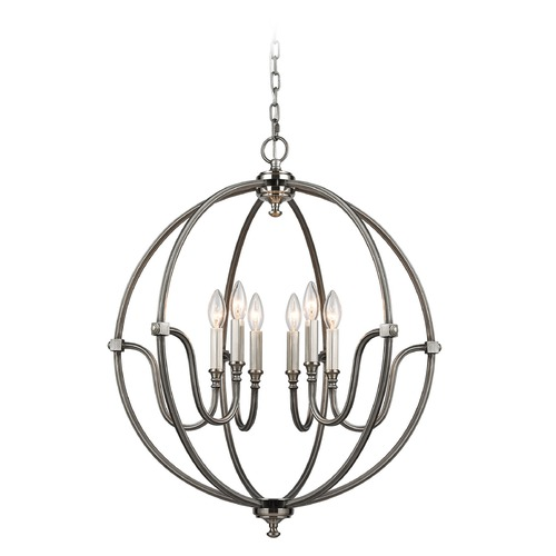 Elk Lighting Elk Lighting Stanton Weathered Zinc, Brushed Nickel Chandelier 11843/6