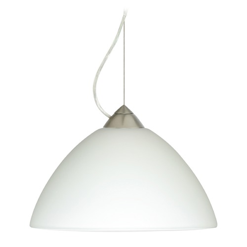 Besa Lighting Besa Lighting Porto Satin Nickel LED Pendant Light with Bell Shade 1KX-420207-LED-SN