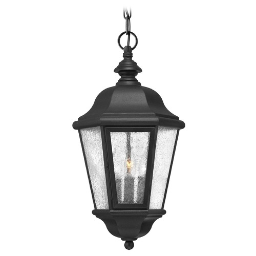 Hinkley Traditional LED Seeded Glass Black Outdoor Hanging Light by Hinkley 1672BK-LL