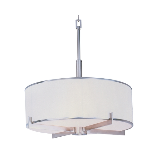 Maxim Lighting Modern Drum Pendant Light with White Shade in Satin Nickel Finish 12053WTSN