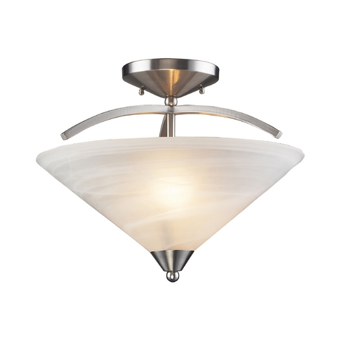 Elk Lighting Modern Semi-Flushmount Light with White Glass in Satin Nickel Finish 7633/2