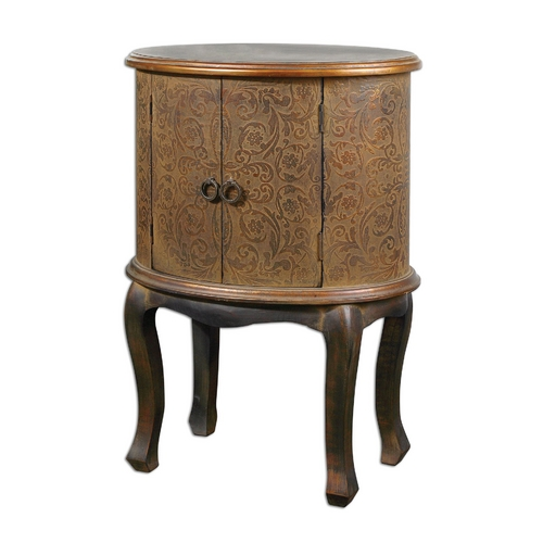 Uttermost Lighting Accent Table in Rust Brown Wash Finish 24241