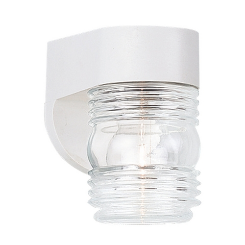 Sea Gull Lighting Outdoor Wall Light with Clear Glass in White Finish 8750-15