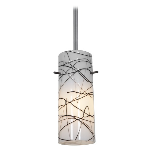 Access Lighting Modern Mini-Pendant Light with White Glass 28030-1R-BS/BLWH