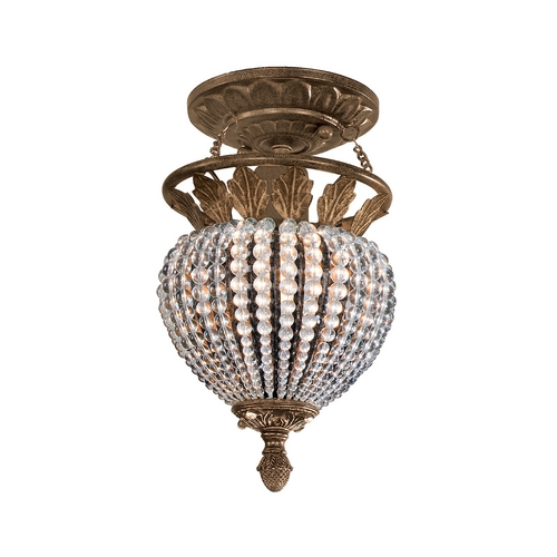 Crystorama Lighting Crystal Semi-Flushmount Light in Weathered Patina Finish 6720-WP