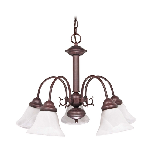 Nuvo Lighting Chandelier with Alabaster Glass in Old Bronze Finish 60/183