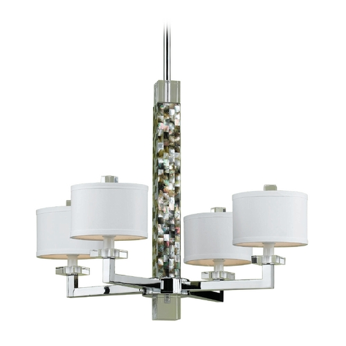 AF Lighting Chrome Chandelier with Abalone Shell 7454-4H