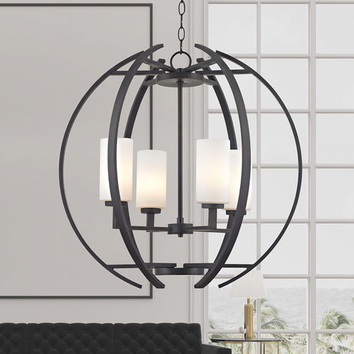Design Classics Lighting Large Modern Orb with 4 Lights in Bronze Finish 1690-78
