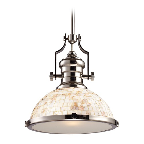 Elk Lighting Elk Lighting Chadwick Polished Nickel LED Pendant Light with Bowl / Dome Shade 66413-1-LED