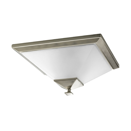 Progress Lighting Progress Flushmount Light with White Glass in Brushed Nickel Finish P3852-09
