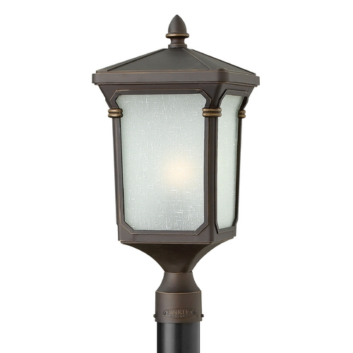 Hinkley Lighting Post Light with White Glass in Oil Rubbed Bronze Finish 1351OZ