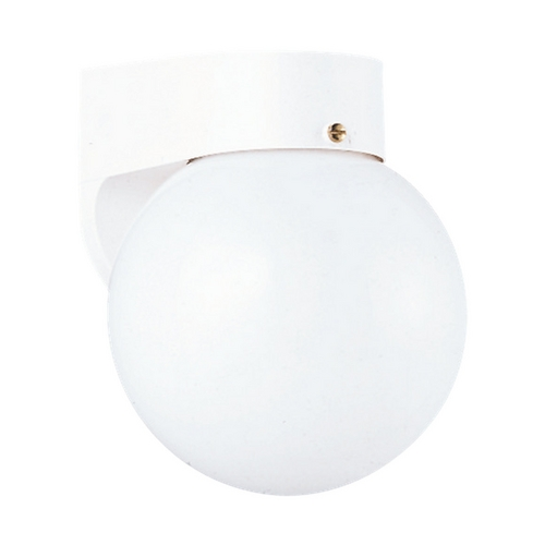 Sea Gull Lighting Outdoor Wall Light with White Glass in White Finish 8753-15