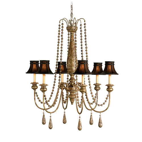 Currey and Company Lighting Chandelier with Black Shades in Distressed Silver Leaf Finish 9254
