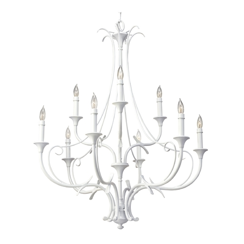 Feiss Lighting Chandelier in Semi Gloss White Finish F2534/6+3SGW