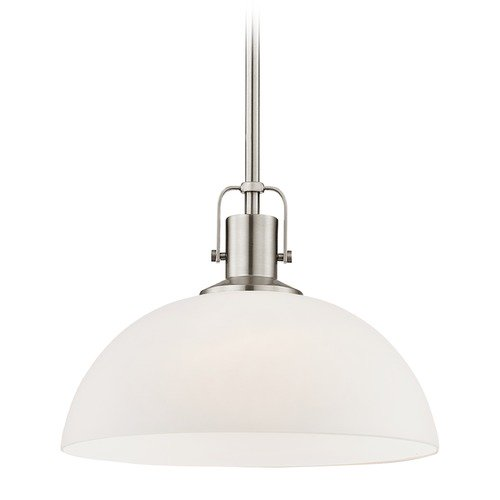 Design Classics Lighting Nautical Satin Nickel Pendant Light with White Glass 13-Inch Wide 1762-09 G1785-WH