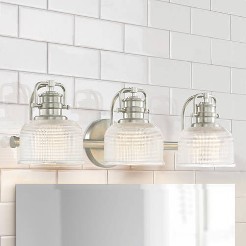 Design Classics Lighting Prismatic Glass 3-Light Bathroom Light in Satin Nickel Finish JJ 1793-09/FC