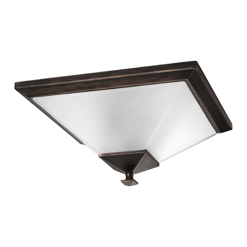 Progress Lighting Progress Flushmount Light with White Glass in Venetian Bronze Finish P3852-74