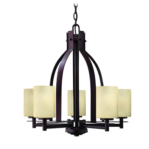 Hinkley Lighting Chandelier with Beige / Cream Glass in Metro Copper Finish 4725MC