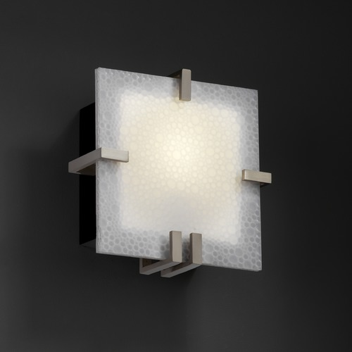 Justice Design Group Justice Design Group Clips Family Brushed Nickel Sconce 3FRM-5550-FIZZ-NCKL