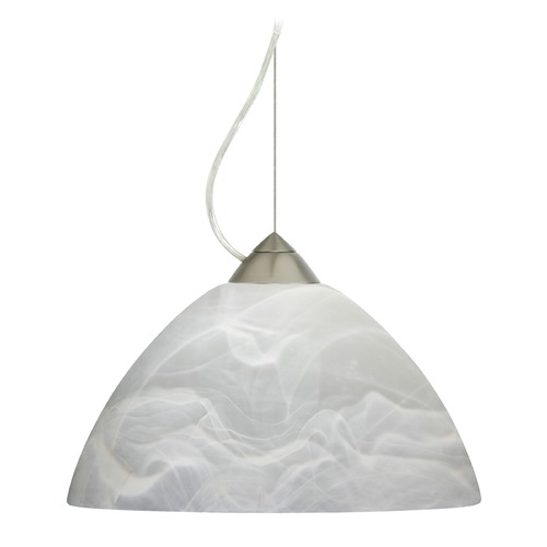 Besa Lighting Besa Lighting Porto Satin Nickel LED Pendant Light with Bell Shade 1KX-420252-LED-SN